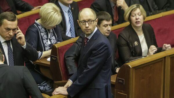 Арсений Яценюк на заседании Верховной Рады Украины. Фото с места события