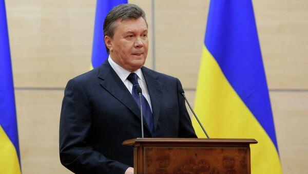 Виктор Янукович во время обращения в Ростове-на Дону