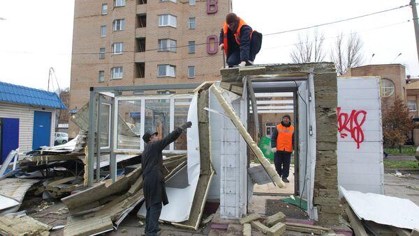 В столице продолжается снос незаконно установленых ларьков и киосков