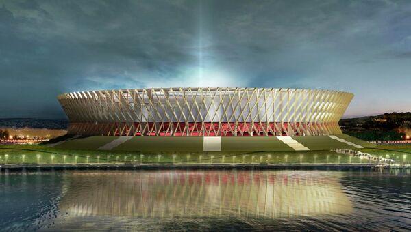 Макет футбольного стадиона в городе Волгограде к ЧМ-2018.