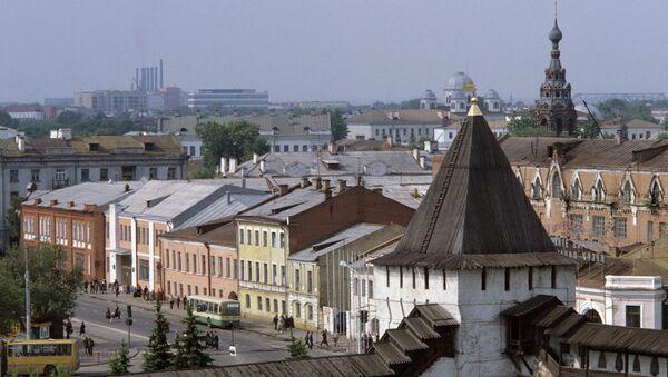 Вид на старую часть города Ярославль со стороны Спасо-Преображенского монастыря