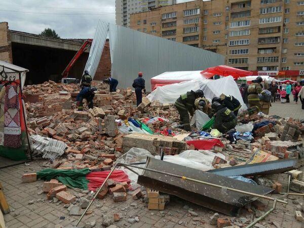 Обрушение стены кинотеатра в Балашихе