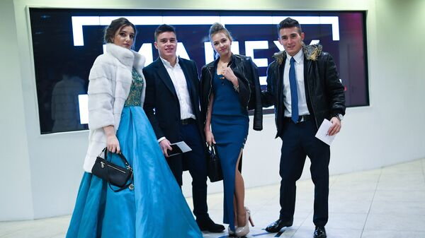 Алия Мустафина, Никита Нагорный, Дарья Спиридонова и Давид Белявский (слева направо) на Балу олимпийцев России - 2016