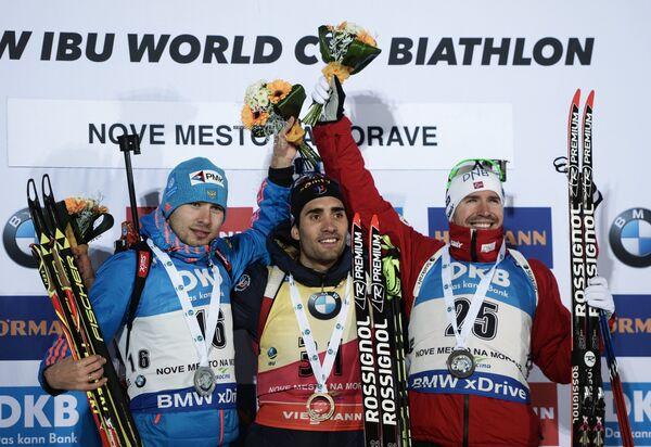 Антон Шипулин, Мартен Фуркад, Эмиль Хегле Свендсен (слева направо)