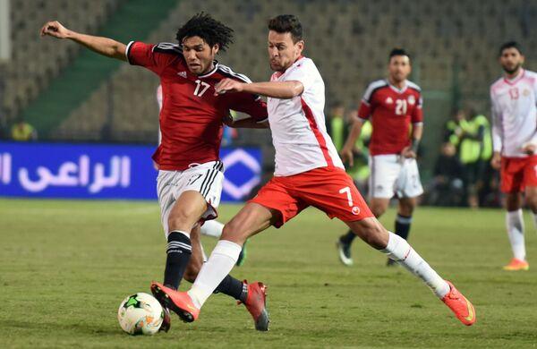 Игровой момент матча Египет - Тунис