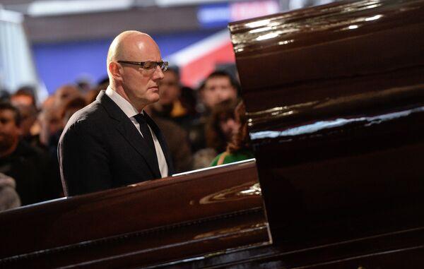 Дмитрий Чернышенко на церемонии прощания с Сергеем Гимаевым