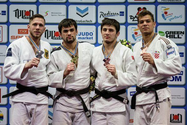 Немец Доминик Рессел, россияне Алан Хубецов и Аслан Лаппинагов и хорват Доминик Друзета (слева направо)
