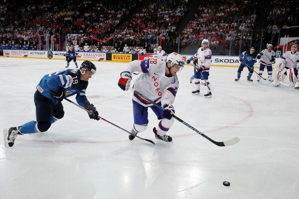 Игровой момент матча ЧМ-2017 по хоккею между командами Финляндии и Норвегии