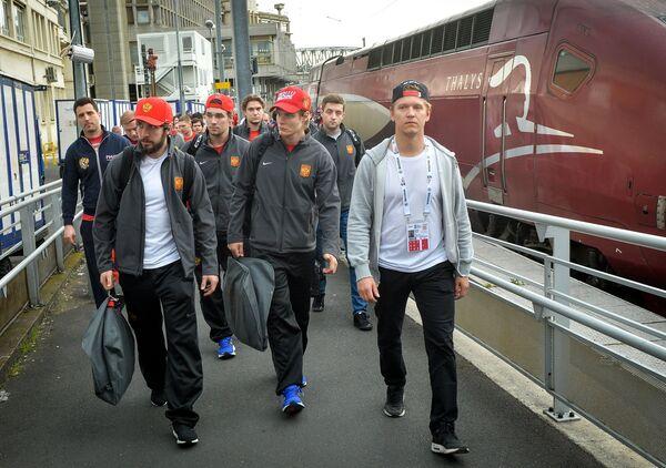 Игроки сборной России, прибывшие для участия в матче 1/4 финала чемпионата мира по хоккею