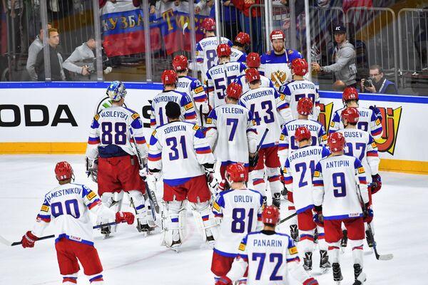 Хоккеисты сборной России покидают арену