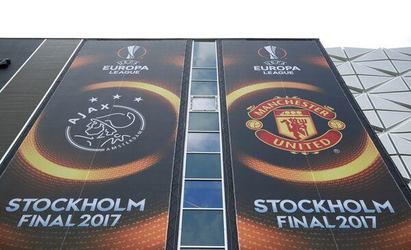 Вывеска финального матча Лиги Европы между Манчестер Юнайтед и Аяксом