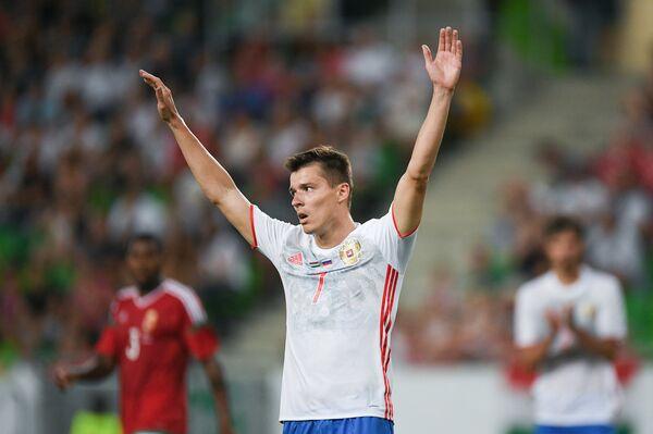 Нападающий сборной России Дмитрий Полоз
