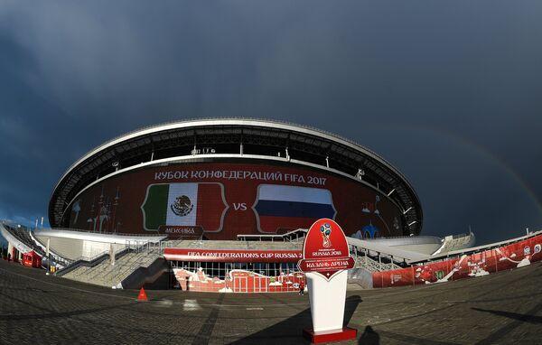 Стадион Казань Арена перед началом матча Кубка конфедераций-2017 между сборными Мексики и России