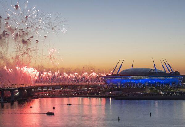 Салют у стадиона Санкт-Петербург Арена