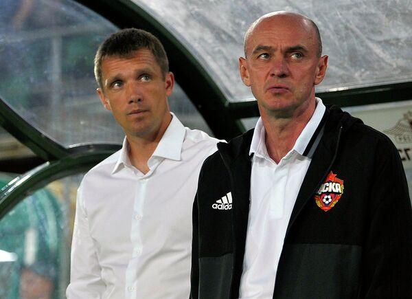 Главный тренер ЦСКА Виктор Гончаренко (слева) и тренер ЦСКА Виктор Онопко