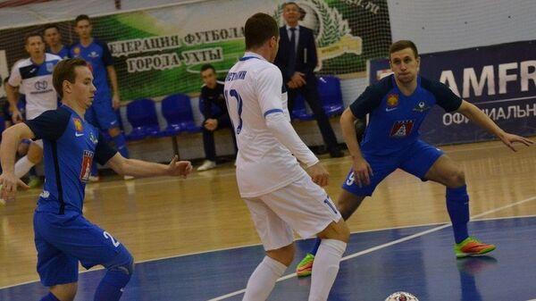 Игровой момент матча чемпионата России по мини-футболу между Ухтой и Норильским никелем