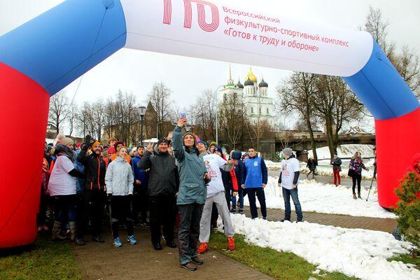 Пробежка с чемпионом при участии Натальи Антюх в Пскове