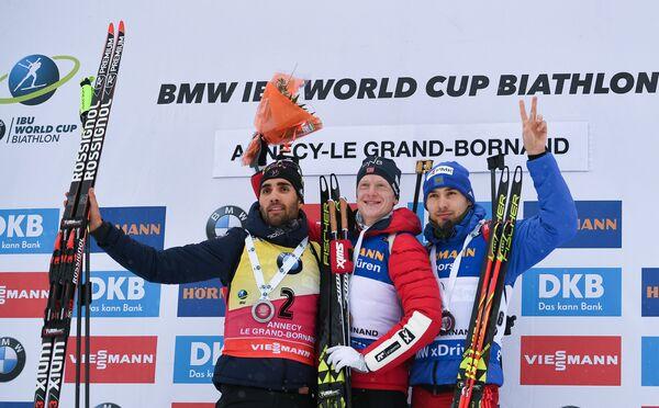 Мартен Фуркад, Йоханнес Бё и Антон Шипулин (слева направо)