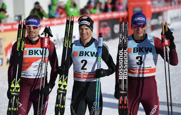 Сергей Устюгов, Дарио Колонья и Александр Большунов (слева направо)