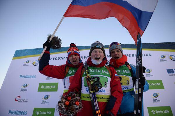 Слева направо: россияне Денис Таштимеров, Андрей Вьюхин и Михаил Первушин (золотые медали)