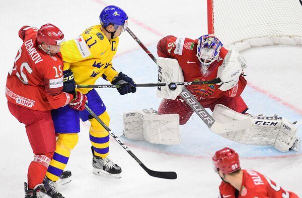 Игровой момент матча Швеция - Белоруссия