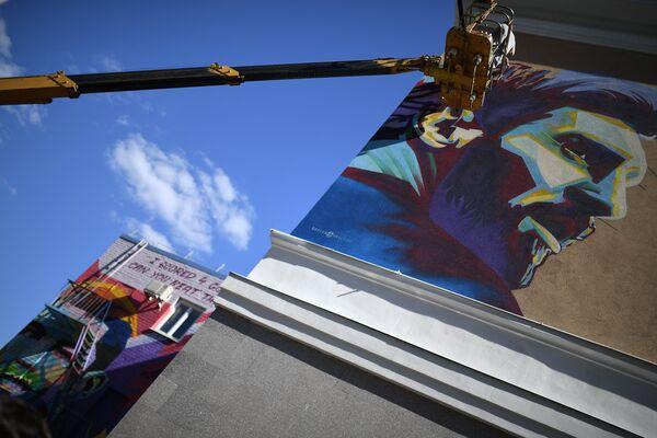 В Казани появилось граффити с Месси
