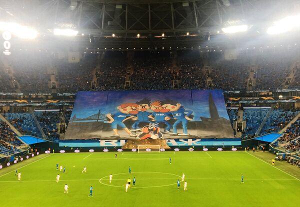 Перфоманс болельщиков Зенита на матче с пражской Славией