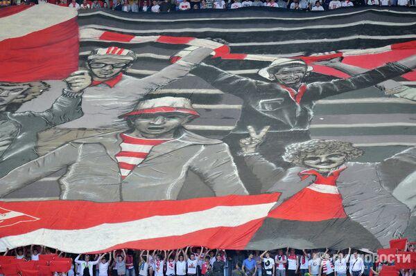Баннер болельщиков Спартака перед началом матча