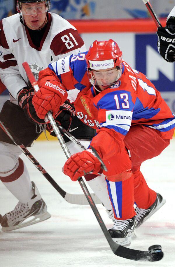Игровой момент матча Латвия – Россия