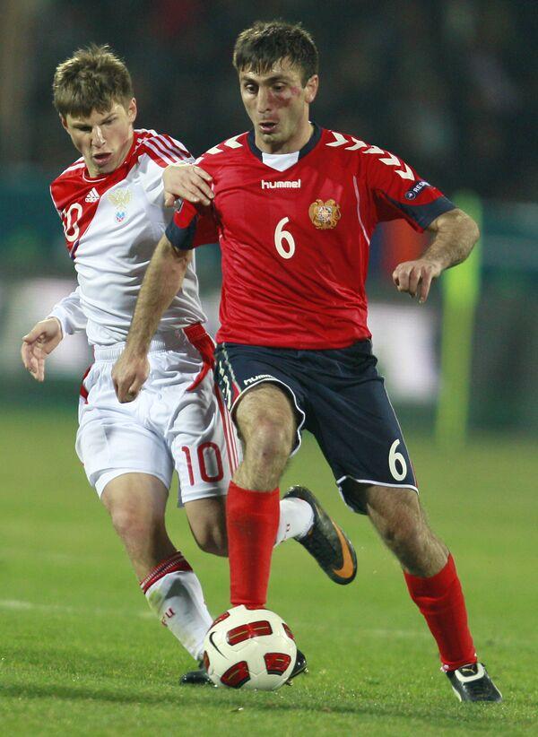Игровой момент матча Армения - Россия