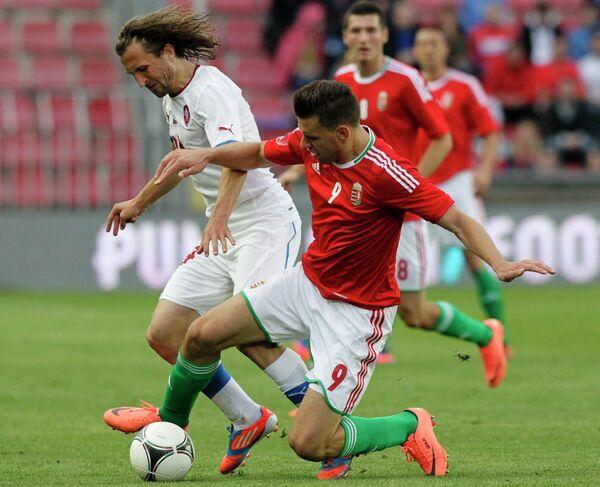 Игровой момент матча Чехия - Венгрия
