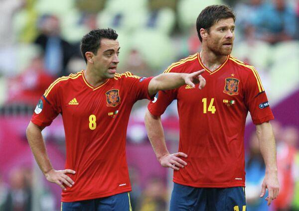 Игровой момент матча сборных Испании и Италии