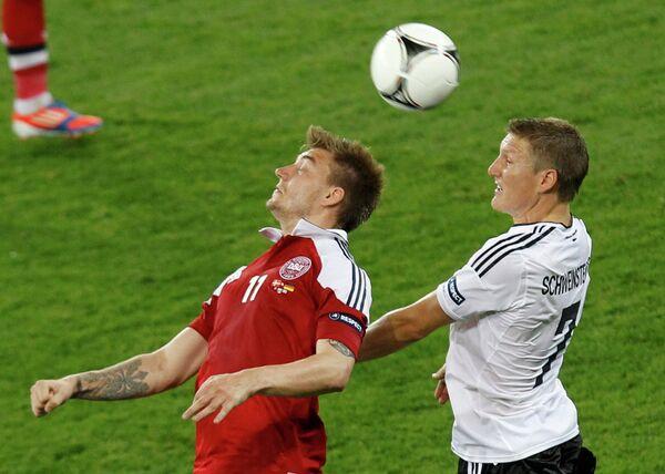 Игровой момент матч Дания - Германия