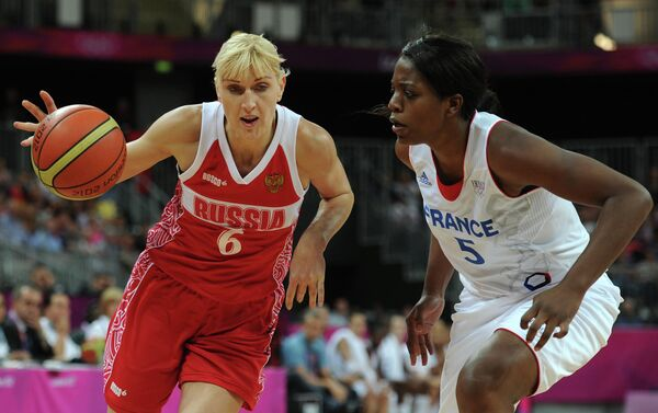 Игровой момент матча сборных Франции и России