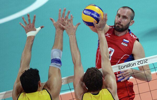 Игровой момент матча Россия – Бразилия