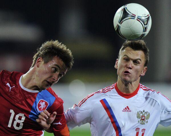 Игровой момент матча молодежных сборных Россия - Чехия