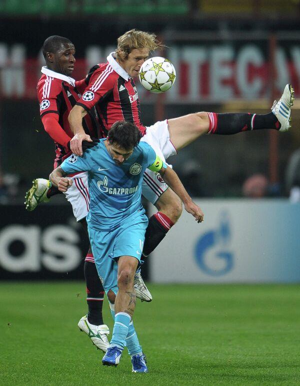Игровой момент матча Милан - Зенит