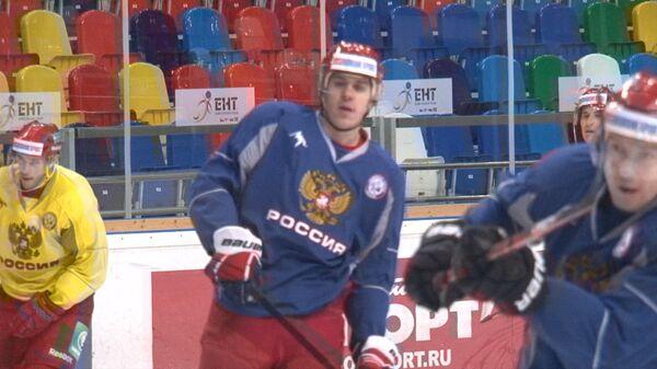 Звезды НХЛ Овечкин, Малкин и Дацюк тренируются перед матчем РФ и Швеции