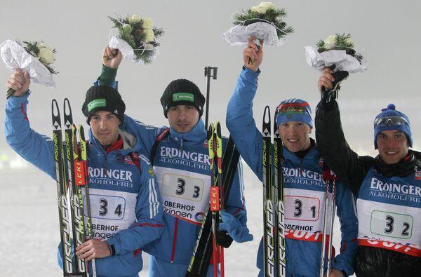Дмитрий Малышко, Антон Шипулин ,Алексей Волков, Евгений Гараничев (слева направо)