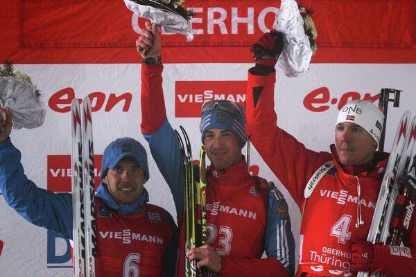 Слева направо: россияне Евгений Гараничев (второе место), Дмитрий Малышко (первое место) и норвежец Эмиль-Хегле Свендсен (третье место).