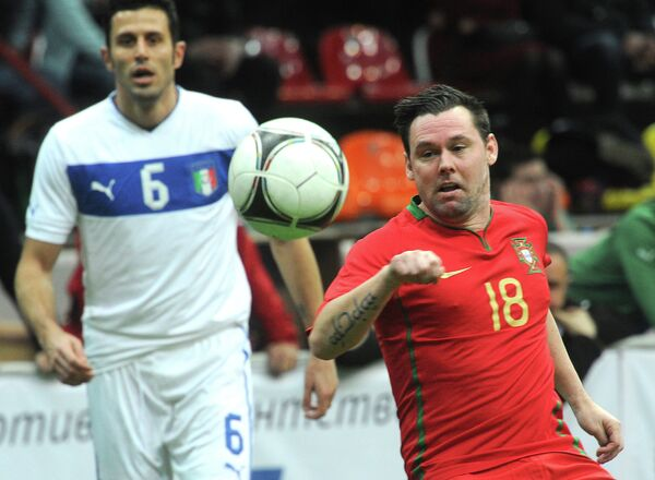 Игровой момент матча сборных команд Португалии и Италии