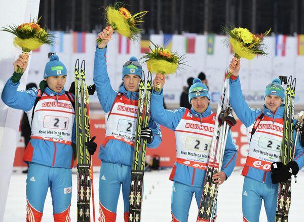 Российские биатлонисты Антон Шипулин,Дмитрий Малышко, Евгений Гараничев, Евгений Устюгов (слева направо)