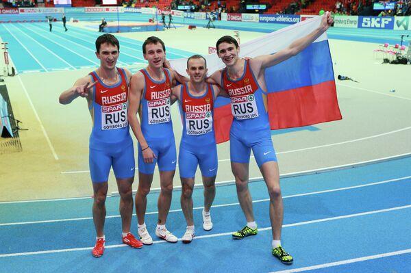 Россияне Юрий Трамбовецкий, Владимир Краснов, Константин Свечкарь и Павел Тринихин (слева направо)