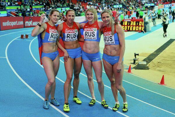 Россиянки Ольга Товарнова, Ксения Задорина, Надежда Котлярова и Татьяна Вешкурова (слева направо)