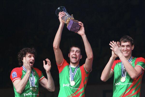 Игроки ВК Локомотив Александр Бутько, Денис Бирюков и Вячеслав Махортов (слева направо)