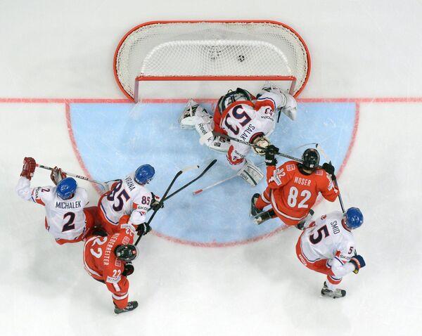 Игровой момент матча Швейцария - Чехия