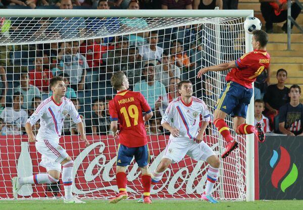 Игровой момент матча Испания-Россия