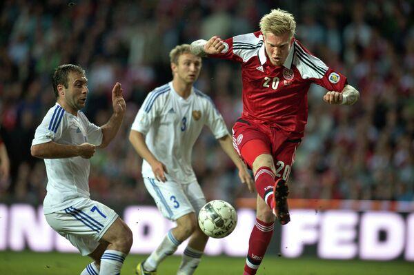 Игровой момент матча Дания-Армения