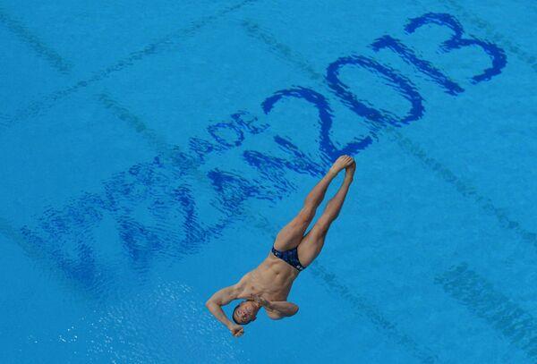 Илья Захаров (Россия) в полуфинальных соревнованиях по прыжкам в воду с трамплина