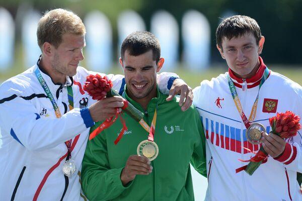 Мартин Шуберт (Германия) - серебряная медаль, Фернанду Пимента (Португалия) - золотая медаль, Виктор Андрюшкин (Россия) - бронзовая медаль.
